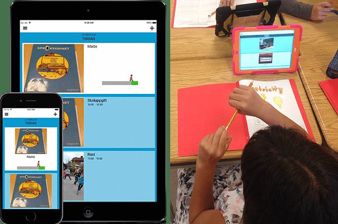 En bild på appen DayCape och en bild på ett barn som använder appen på en iPad i skolan