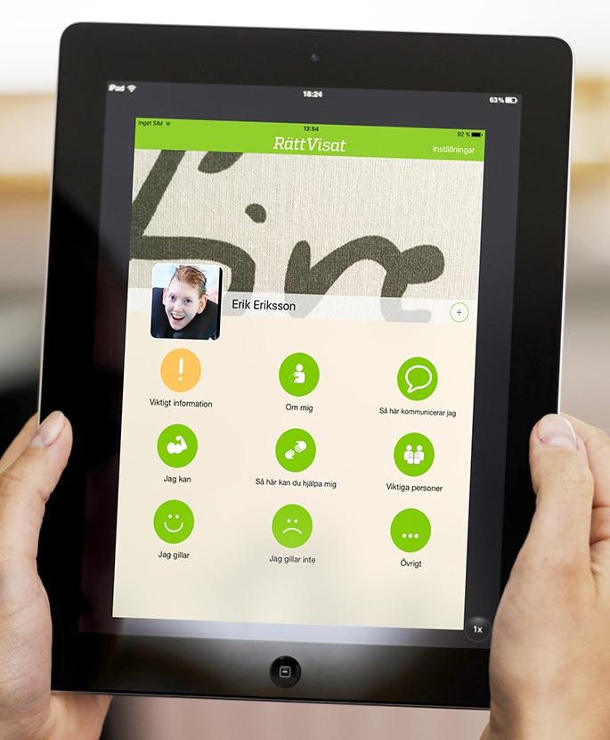 En bild på hur appen Rättvisat ser ut på en iPad