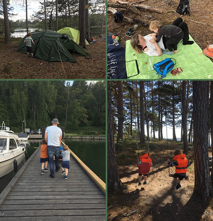 Blandade bilder på när familjen campar och är i båtmiljö