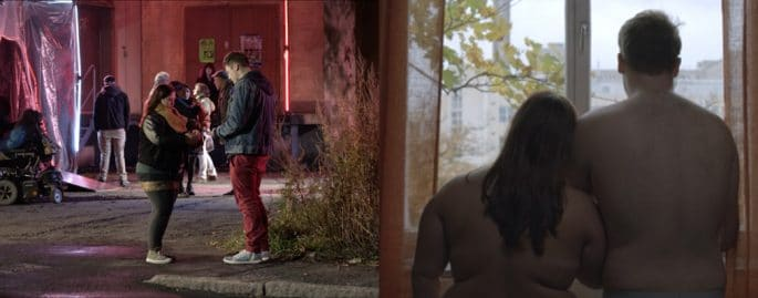 """Två bilder ur filmen """"Om sex"""""""