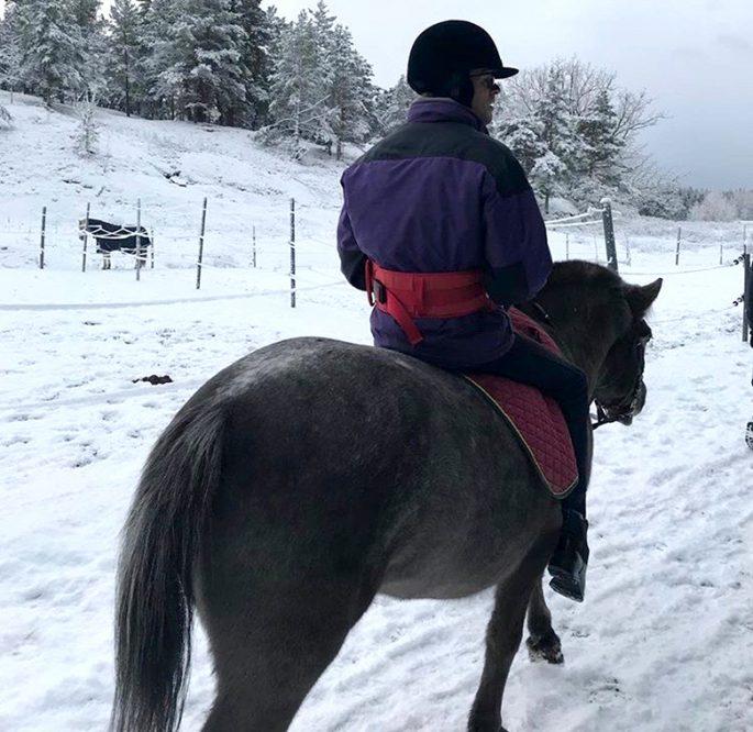 Zandras bror rider på en häst