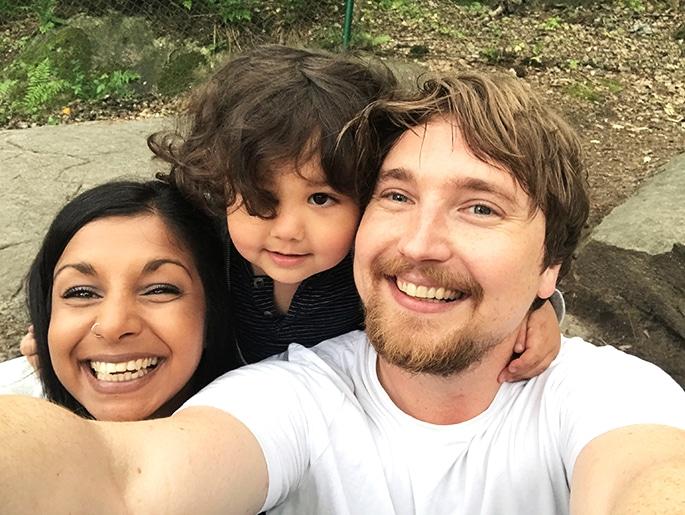 En selfie tagen av Oscar där han, Linn och Tristan ler in i kameran