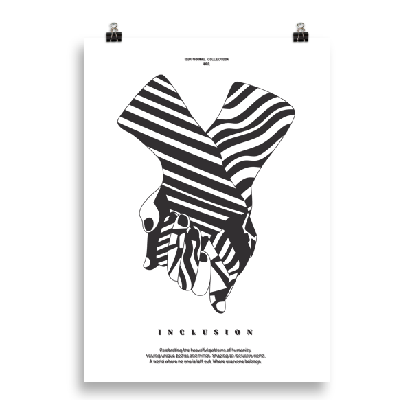 Poster with two hands and the text INCLUSION