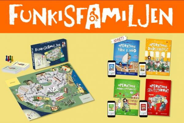 Barnböcker och spel med Funkisfamiljen